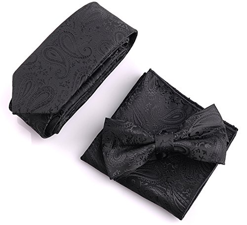 Flairs New York Paisley Collection Bow Tie & Pocket Square Matching Set (Midnight Black / Tuxedo -