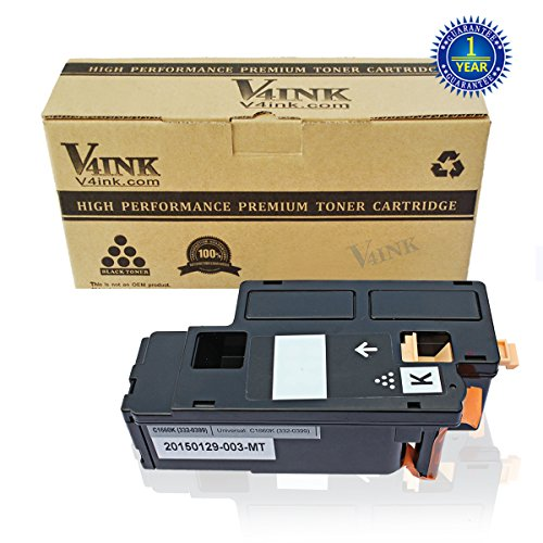 V4INK® 1 Pack Replacement Toner Cartridge DELL C1660 (332-0399)(Black) compatible with DELL C1660 C1660W C1660cnw, yield of 1,250 pages