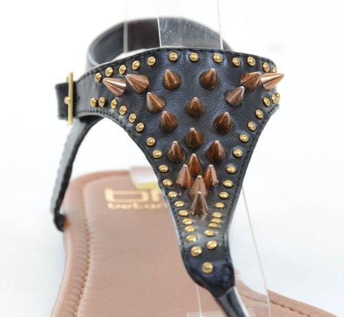 Studded Thong Platte Slippers Sandalen Veganistische Zwarte Damesschoenen