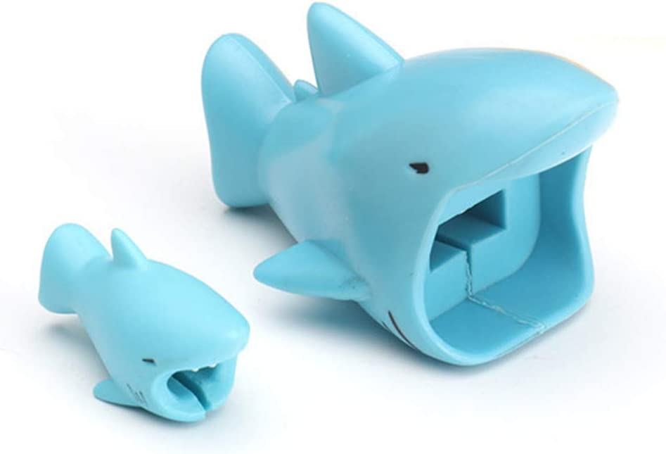 Wisfruit Animal Buddies Phone Cord Bites, Cute Cable Protector Compatible iPhone ipad, Charging Cable Buddies for Extra Protection (Blue Shark)