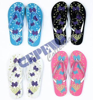 6c50c0539fa55b Bathing Sandals Flip Flops with Butterfly Motif   Glitter