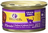 Wellness Complete Health Natural Grain Free Wet Canned Cat Food, Morsels Turkey & Salmon Entrée, 3-Ounce Can (Pack Of 24) For Sale