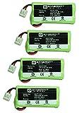 Synergy Digital Cordless Phone Batteries - Replacement for AT&T BT8001, BT8300, BT184342, BT284342 Cordless Phone Batteries (Set of 4)