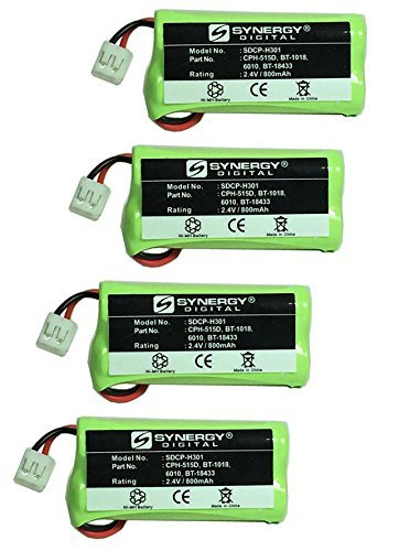 Synergy Digital Cordless Phone Batteries - Replacement for AT&T BT8001, BT8300, BT184342, BT284342 Cordless Phone Batteries (Set of 4) by Synergy Digital
