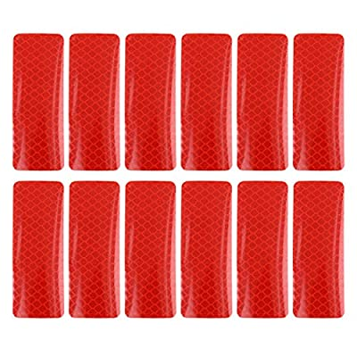 X AUTOHAUX 12pcs Automotive Reflective Stickers Night Visibility Safety Reflective Rear Bumper Tape Universal Adhesive for Car 3 x 8cm Red: Automotive
