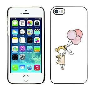 FlareStar Colour Printing Little Girl Balloon Art White Mother Mom cáscara Funda Case Caso de plástico para Apple iPhone 5 / iPhone 5S
