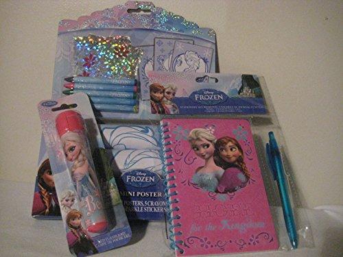 Disney Frozen Sparkle Mini Poster Activity Set, Disney Frozen Stationary Set ( Notebook) with Pen , & Disney Led - Frozen Notebooks Mini