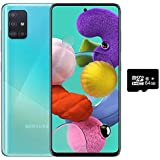 "Samsung Galaxy A51 (128GB, 4GB) 6.5"", 48MP Quad Camera, Dual SIM GSM ONLY Unlocked A515F/DS- US + Global 4G LTE International Model (Prism Crush Blue, 64GB SD + Case Bundle)"