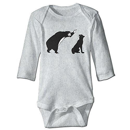 HYRONE Brown Bear Baloo And Panther Baby Bodysuit Long Sleeve JumpSuit Romper Size 6 M Ash