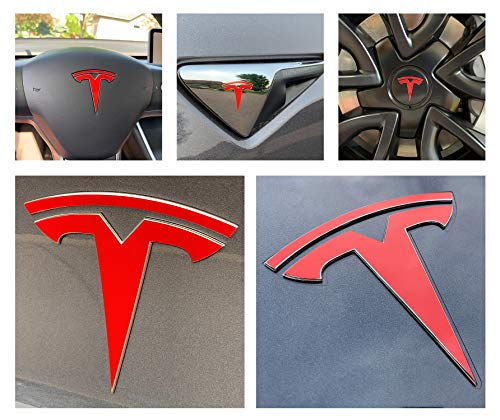 Custom Cut Graphics Tesla Model 3 Logo Decal Wrap (Gloss Red) ()