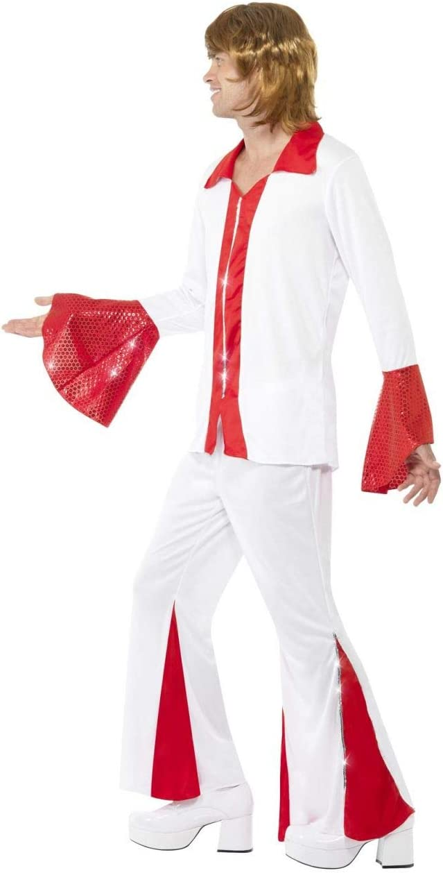 Womens Ladies 70s Red Super Trooper Disco Pop Fancy Dress Costume Outfit Flares