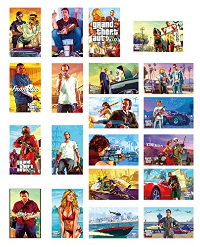 GTOTd Stickers for Grand Theft Auto 20-Pcs, Sticker Decals of Vinyls for Laptop, Water Bottle, Window Gift, Teens, Cars, Collection, Skate Board etc.