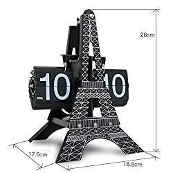 creative European clocks/desk clock/ electric flip clock/Paris Eiffel tower clocks/ automatic page living room clock-A