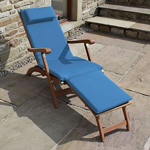Trueshopping Garden Patio Steamer Sun Lounger 'Ambleside' Hardwood Patio Chair includes Luxury Blue Cushion and Folding Side Table