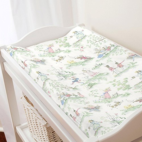 Pink Toile Changing Pad - Carousel Designs Nursery Rhyme Toile Changing Pad Cover
