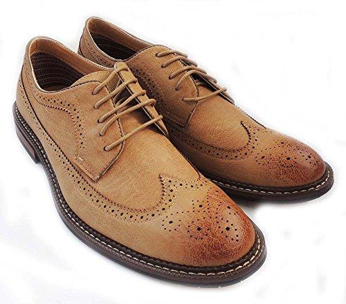 Nueva Moda Hombre Encaje Alrededor Tip Oxfords Casual Cuero Vestido Zapatos M-19312 / Brown