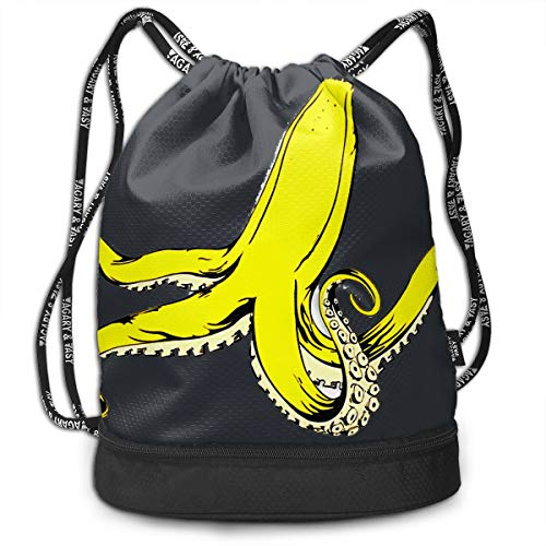 Create Magic Banana Squid Drawstring Backpack Sports Athletic Gym String Bag Cinch Sack Gymsack Sackpack With Water Bottle Mesh Pockets -