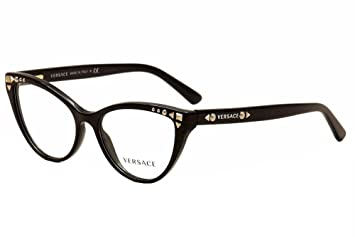 2902a4b5a1 Image Unavailable. Image not available for. Color  Versace Eyeglasses  VE3191 VE 3191 GB1 Black Full Rim Cat Eye Optical Frame 54mm