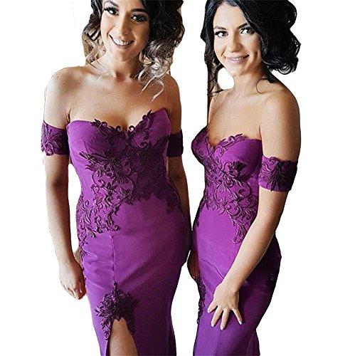 Drehouse Femmes Hors De L'épaule Sirène Robes De Appliques Bal Longues Robes De Demoiselle D'honneur 2018 Violet