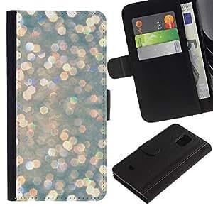 KingStore / Leather Etui en cuir / Samsung Galaxy S5 Mini, SM-G800 / Perla perlados Luces de nieve