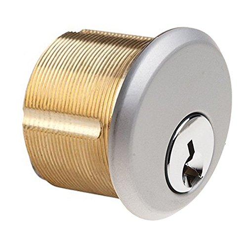 Mortise Keyed Cylinder Lock in Aluminum finish - KA, SC1 keyway, single piece. Durable commercial & residential, door hardware, door handles, locks