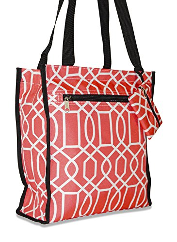 Ever Moda Travel Tote Bag 12-inch, Geometric Coral Pink