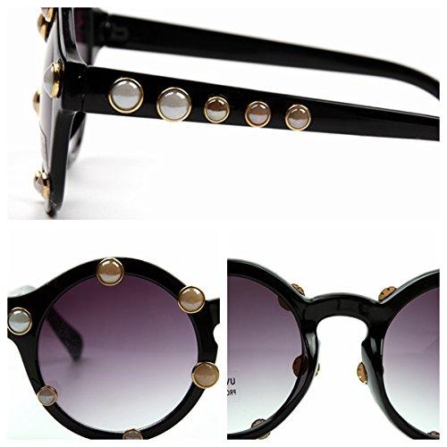 de sol TL perlas de lujo redondas sol lo marca femenino mujer de gafas Pequeñas Sunglasses de gafas para mujer vintage AYY1wPfq