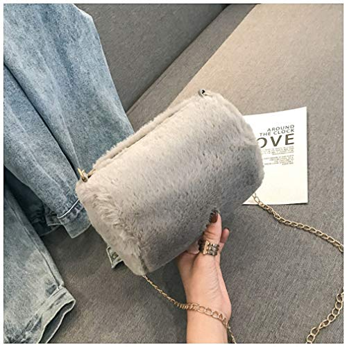 Womens Shoulder Bags Winter Faux Fur Handbag Women Shoulder Bags Small Capacity Casual Tote Bag Fashion Shopping Handbag Chain Bag Feminina Bag Grey Mini Max Length-20cm