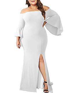 eab783e5362 Lalagen Women s Plus Size Off Shoulder Bodycon Long Evening Party Dress  Gown White XXXL