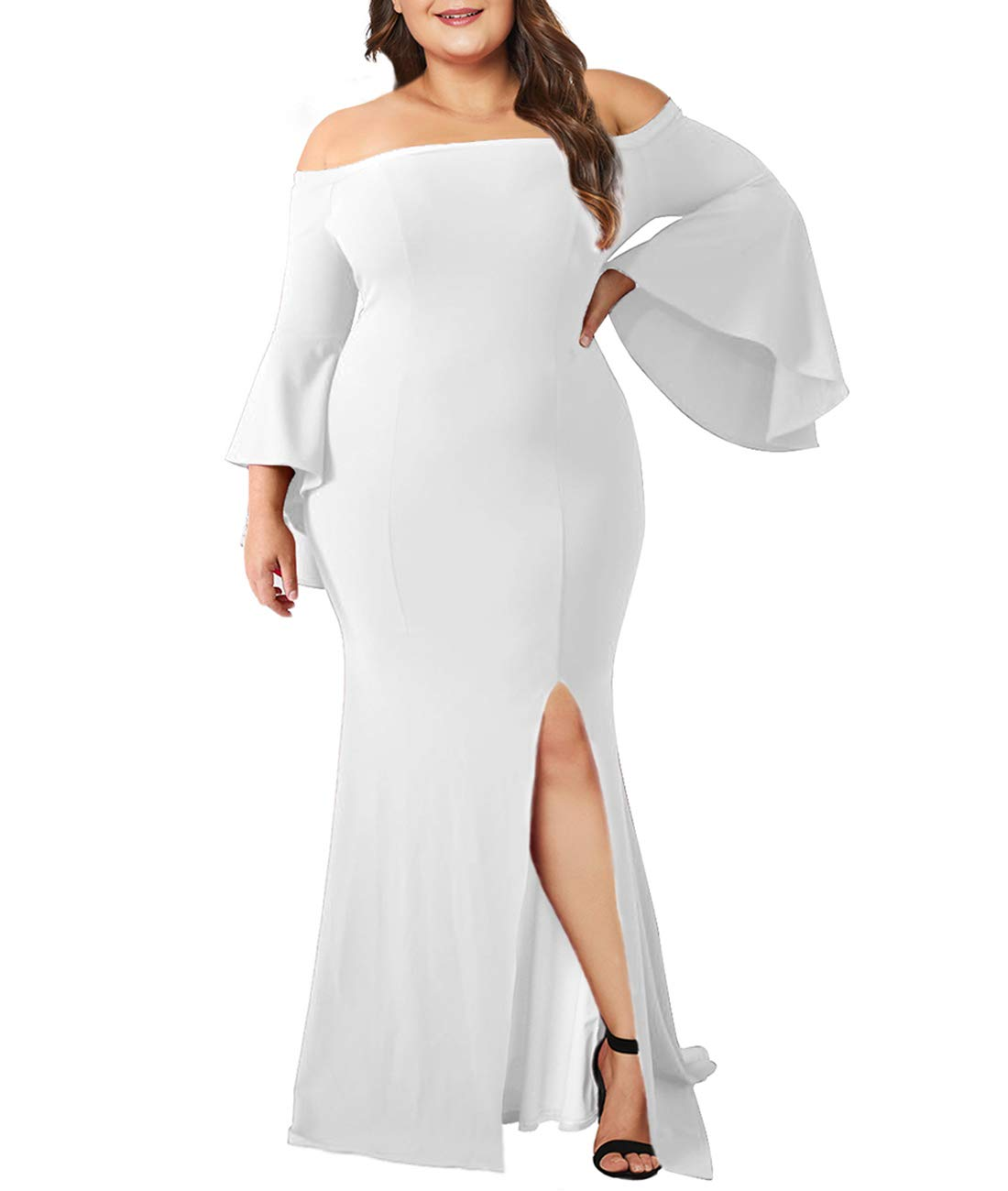 caa1ef8e04 Innerger Women Plus Size Off Shoulder Bodycon Party Dress Evening Formal  Gown White XXXXL