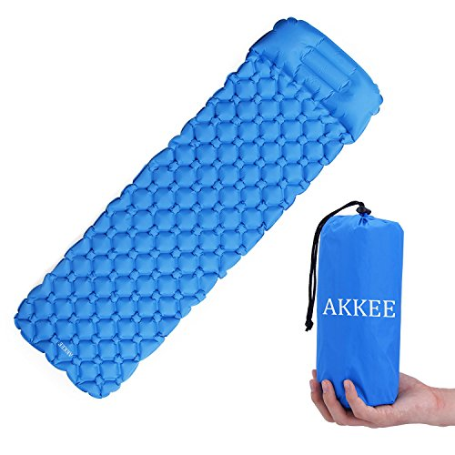 AKKEE Ultralight Air Sleeping Pad Inflatable Camping Mat with Built in Pillow for Sleeping Bag, Hammock and Tent,for Backpacking, Outing, Traveling and Hiking, Comfortable Air Camp Mattress, (Blue) Review
