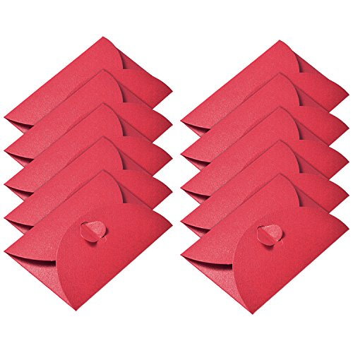Hestya 50 Pieces Kraft Paper Envelopes Mini Gift Card Envelope with Heart Clasp for Christmas Gift Cards Valentine's Day DIY Craft, - Craft Envelopes Cards