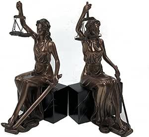 Conjunto de 2 sujetalibros de la justicia bronce abogado