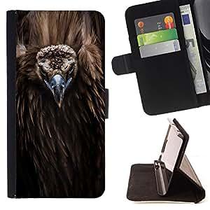 BullDog Case - FOR/Samsung Galaxy S4 IV I9500 / - / bird beak feathers nature animal condor /- Monedero de cuero de la PU Llevar cubierta de la caja con el ID Credit Card Slots Flip funda de cuer
