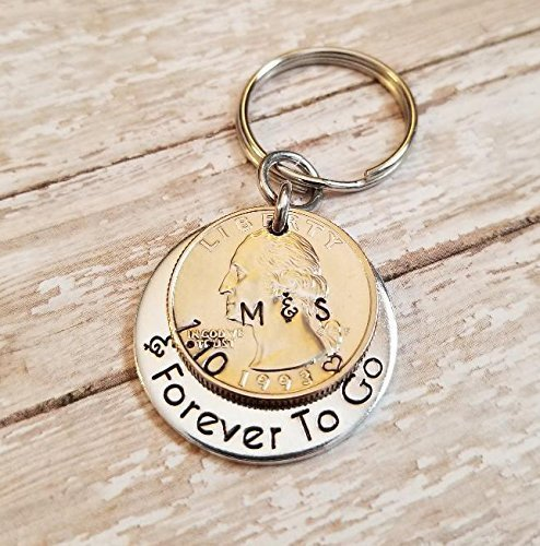 Personalized 25 Years and Forever To Go 1993 Quarter Key Chain 25th Anniversary Gift (Silver Quarter Key)