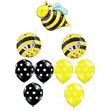 BUMBLE BEE Bumble Bee Polka Dots Birthday PARTY (9) Mylar Latex BALLOONS Set Kit