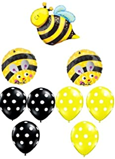 BUMBLE BEE Bumble Bee Polka Dots Birthday PARTY 9 Mylar Latex BALLOONS Set Kit