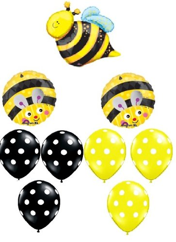 BUMBLE BEE Bumble Bee Polka Dots Birthday PARTY (9) Mylar Latex BALLOONS Set Kit