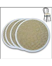 FACILCASA metalowe krzesło, okrągłe siedzisko, wymienne tworzywo sztuczne, szybka wymiana i oszczędność dzięki naszej słomce Vienna (średnica 41 cm – nr 4 biały pierścień)