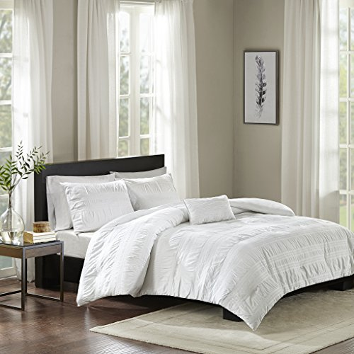 Nicolette Fabric - Nicolette 4 Piece Cotton Seersucker Duvet Cover Set White Full/Queen