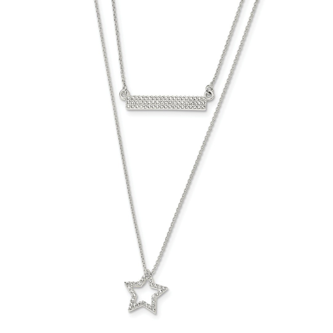 ICE CARATS 925 Sterling Silver Cubic Zirconia Cz Star Bar 2 Strand 16 Inch Chain Necklace Pendant Charm Fine Jewelry Ideal Gifts For Women Gift Set From Heart