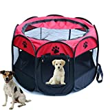 Portable Foldable Pet Playpen,Pet Puppy Dog Playpen Exercise Pen Kennel,Removable Mesh Shade Cover, dog pop up silhouettes pet pen (35.8″ x 35.8″ x 22.8″, red) Review