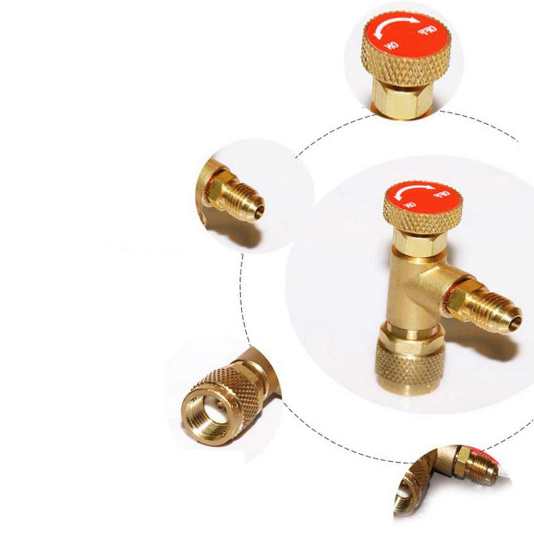 VIGORFLYRUN PARTS LTD 1pcs R410A Adaptador de Válvula Refrigerante de Aire Acondicionado 1/4