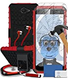 Vodafone Smart Platinum 7 Red Black Shock Proof Case, Tempered Glass Screen Protector, Retractable Stylus Pen, ZIP Stereo HeadPhones with Mic