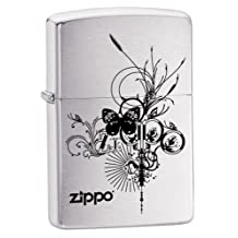 Zippo Windproof Brushed Chrome Butterfly Lighter, # 24800, New In Box