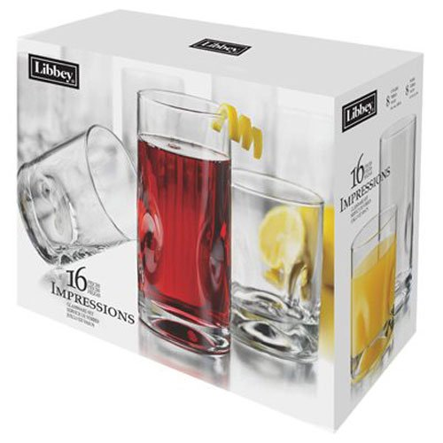 Libbey Impressions 16 Piece Beverage Set, Item 1786426, Clear