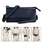 Befen Leather Wristlet Clutch Smartphone Crossbody Wallet with Card Slots/Shoulder Strap/Wrist Strap (Navy Blue Small)