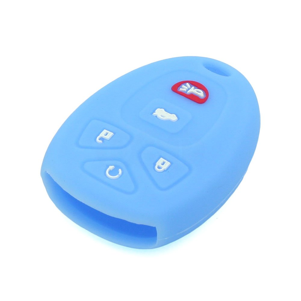 SEGADEN Silicone Cover Protector Case Skin Jacket fit for BUICK GMC CHEVROLET CADILLAC PONTIAC SATURN 5 Button Remote Key Fob CV4606 Purple