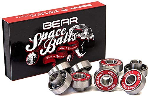 Bear Trucks Space Balls 8mm ABEC 7 Silver/Red Skateboard Bearings