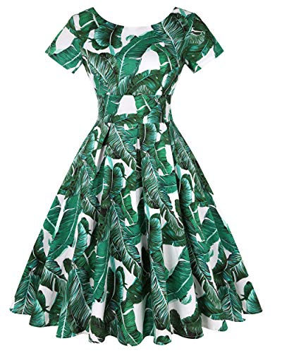 MINTLIMIT Women's Retro Vintage Style Short Sleeve Evening Party Evening Swing Dresses (Floral Green,Size L)
